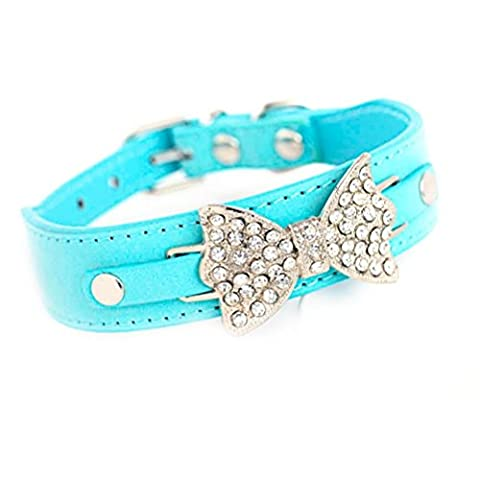 Pet Collars,Clode®Bling Rhinestone Pet Cat Dog Bow Tie Collar Necklace Jewelry for Small or Medium Dogs Cats Pets Female Puppies Chihuahua Yorkie Girl Costume Outfits, Light and Adjustble Buckle (XS:30*2.5CM(L*W), Blue)