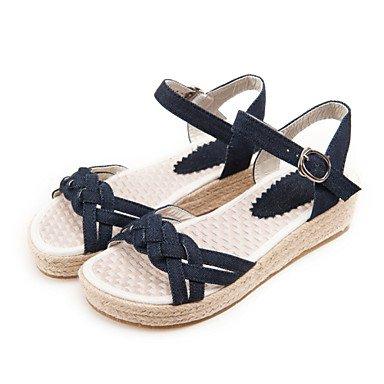 LvYuan Damen-Sandalen-Büro Lässig Kleid-Denim Jeans-Flacher Absatz-Andere-Hellblau Marinenblau Dark Blue