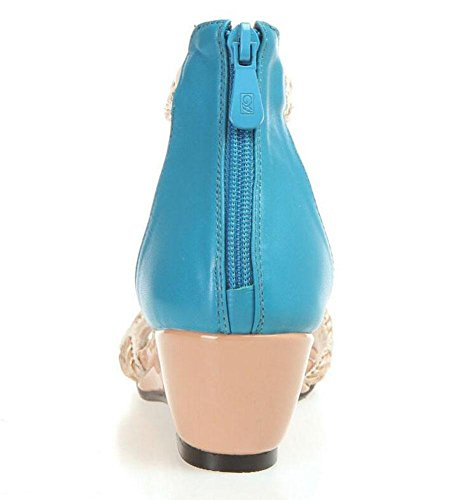 GLTER Damen Open Toe Sandalen Leder Gras Wasser Pisten Medium Heel National Wind Sandalen Light Blue