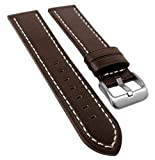 EULIT | Ersatzband Uhrenarmband | Rindsleder, d.braun | versiegelte Kante 35086, Stegbreite:22mm