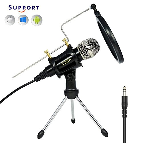 Professionelles Studio Recording Kondensator Mikrofon, iphone Mikrofon Set mit Stand & Shock Mount Aufnahmen f¨¹r YouTube, Skype, FaceTime, Vocals, Podcast - MC6B