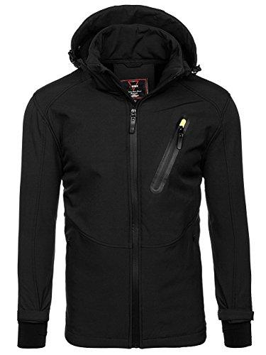 BOLF Herren Softshell Jacke mit Kapuze Sportjacke Outdoor Nature 4846 Schwarz L [4D4] (Schwarze Kapuzen-jacke)