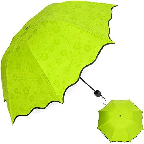 HiViolet Blossom Wasser Regenschirm Sonne Anti-UV Regen Reise Falten Regenschirme für Frauen Herren Dame (Grün)