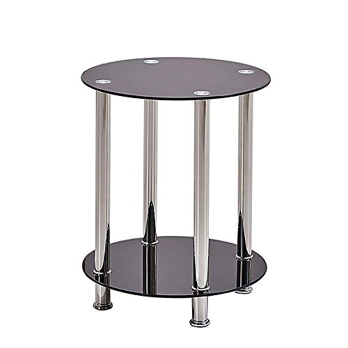 BOJU Magazine Black Glass Side Table Round Sofa End Table Coffee Tea Snack Table for Couch Bedroom Living Room Office Reception Room Balcony