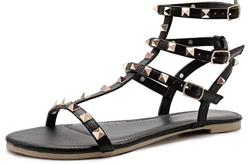 SANDALUP Damen Sandalen mit Spikes Niets Straps und Metallic Schnalle Schwarz 05 Damen-spike