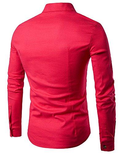 Langarmshirt Herren Stehkragen Hemd Freizeithemd Tops Pullover Rot
