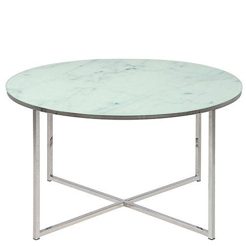 Homy Couchtisch rund Glas Metall Tischplatte Milchglas Marmorprint weiß Metallgestell Silber - Apelte