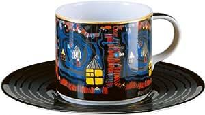 Main gearbeitete Tasse avec soucoupe en porcelaine Motif 'hundertwasser' La Fin De L'Eau 0,21ltr.–BELLE qualité en porcelaine La Königlich Tettau usine–Magnifique tasse