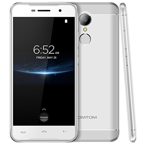 HOMTOM HT37 Pro - Android 7.0 4G Smartphone, Quad Core 1.3GHz 3GB RAM 32GB ROM, 5 Zoll 2.5D Glasschirm, Doppelte Lautsprecher & Atmungslicht, 8MP + 13MP Fingerabdruck - Silber