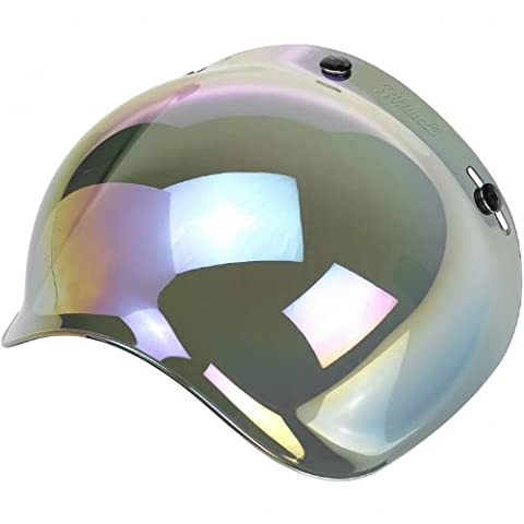 Universal Retro Bubble Shield / Visor For Open Face Motorcycle Helmets With 3-Snap Fitment (Rainbow Mirror)