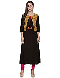 Oomph! Rayon Kurtis for Women Straight with Jacket - Umber Brown