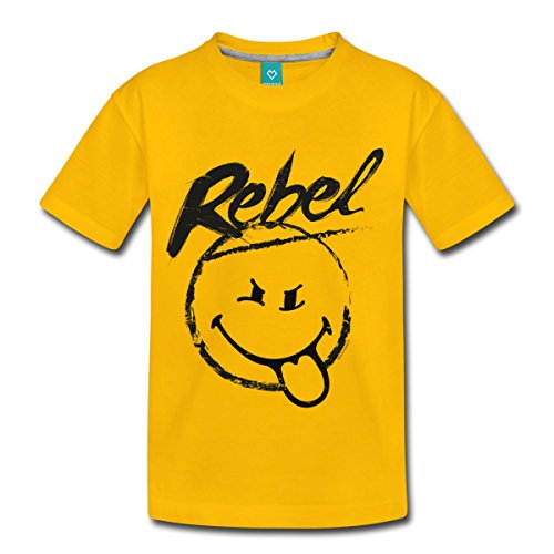 Smiley World Rebel Rebellischer Smiley Kinder Premium T-Shirt von Spreadshirt®, 122/128 (6 Jahre), Sonnengelb (Rebel Kind Shirt)