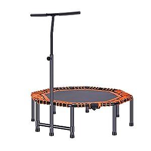 Indoortrampoline Trampolin Elastic Fitness Trampolin Erwachsenes Fitnesstraining Trampolin Professioneller Griff Elastisches Trampolin (Color : Orange, Size : 118 * 118 * 34cm)