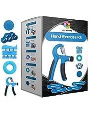 Lifeworks Hand Grip Strengthener (5 Pack) Adjustable Grip Exerciser (10 to 40 KG), Finger Stretcher Resistance Extensor Bands, Finger Strength Trainer, Hand Squeeze Ball & Exercise Ring for Athletes