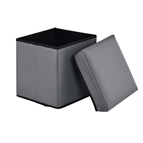 [en.casa] Faltbarer Sitzhocker (30 x 30 x 30 cm)(Grau) zugleich Aufbewahrungsbox - PU-Kunstleder