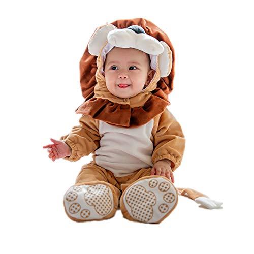 Baby Strampler Herbst Winter Flanell Jumpsuit Jungen Mädchen Pyjama Kinder Kleinkind Pjs Halloween Tier Cosplay Kostüm 73CM (Halloween Pjs Für Mädchen)