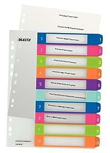 Leitz Intercalaires, Onglets 1-10, A4, Personnalisable et imprimable, Plastique Résistant, Extra-Large, Blanc/Multicolore, WOW, 12430000