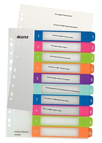 Leitz 12430000 WOW Zahlen Plastikregister (Polypropylen, 1-10, A4, 10 Blatt) farbig