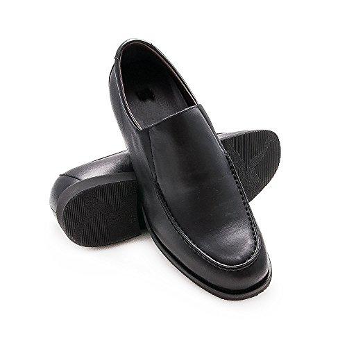 ZERIMAR Chassures réhaussantes pour homme, +6,5 Cm plus grand! Chaussures en cuir de qualité Noir
