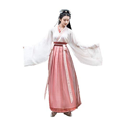Kleid Kostüm Chinesen - YCWY Das alte chinesische Kostüm der Frauen, Weinlese-Hua Mulan Chinese-Kleid stickte Zapfenklage für Parteifeiertag, Fotoaufnahmekleidungsgoldfliegender Kran Drucken,M