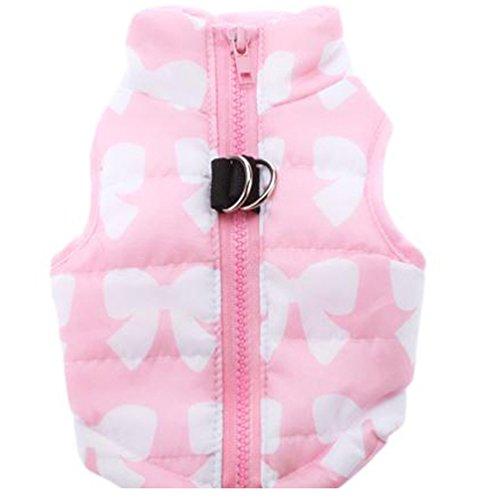 YiJee Animale Domestico Cane Vestiti Gilet Imbottito Abbigliamento Cappotto Giacca Pink XS