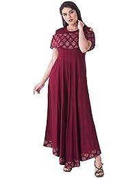 Khushal Women's Rayon Printed Cold Shoulder Gown Kurta