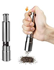 klever kitchen Mini Pepper Grinder Crusher Mill Stainless Steel Hand Thumb Press Set Machine with Stylish Design for Grinding Salt and Black Pepper