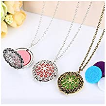 Premium & Stylish Charming Aromatherapy Locket Necklace Silver, Antique Gold and Antique Silver Necklace by Zarood for Essential Oil Diffuser, Perfume. Good for Party, Evening & for Every Day Use, Ideal gift for Birthday, Anniversary, Valentine.
