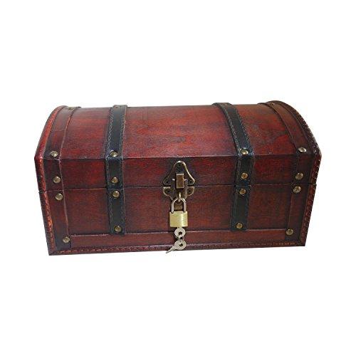 infinimo Schatztruhe - Holztruhe, Piratenkiste, Geschenk-Box verschließbar mit Deckel und Schloss mit Schlüssel, 30x20x15cm große - Wein Antik