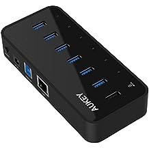 AUKEY Hub USB Alimentato con 6 porte USB 3.0, 1 porta Ethernet, 1 porta di carica, adattatore 12V/3A per iPhone, MacBook e altri