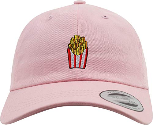New Basecap: Pommes Frittes - Low Profile/Urban Cap/Hip-Hop Rap Kappe/USA/Flexfit/Emoticon/Emoji/Lustig-e Koch-Mütze/Pink/Herren & Damen/Patch (Alt-Rosa)