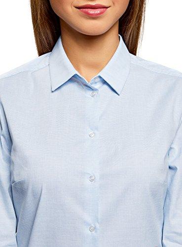 oodji Ultra Damen Baumwoll-Hemd Basic Blau (7000N)