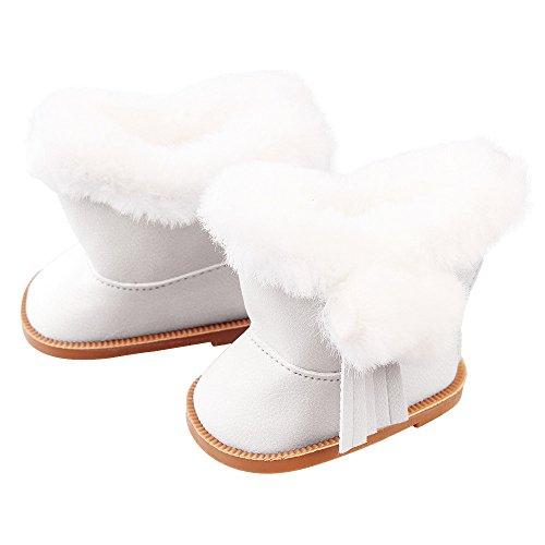 Puppenschuh, YUYOUG 1 Paar Plüsch Winter Warme Schneeschuhe Für 18 Zoll American Girl Dolls Mini Schuhe Mädchen Spielzeug Weihnachten Geburtstagsgeschenk (Weiß) (Bitty Baby Schuhe)