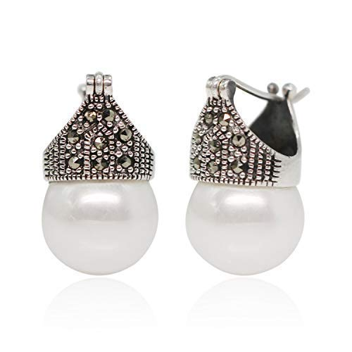 Luna Azure Vintage fashion style Argento sterling 925 e conchiglia, orecchini di perle bianche Marcasite, orecchini a cerchio per gioielli regalo donna e ragazza