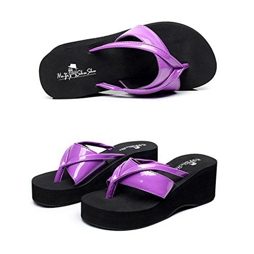 PENGFEI sandali delle donne Flip-flops estivi Pantofole femminili da spiaggia Flip flop antiscivolo Pendenza con pantofole fredde Confortevole e traspirante ( Colore : Viola , dimensioni : EU37/UK4.5- Viola