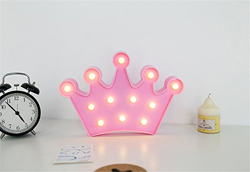 Krone-stand (Krone Nachtlicht Kinder, Nachttisch SüßE Nachttischlampe Children Night Light Deko Kinder MäDchen Babytisch Spielzeug Schlafzimmer Led-Nachtlicht für Babys Cartoon Orientierungslicht Einschlafhilfe (Rosa))