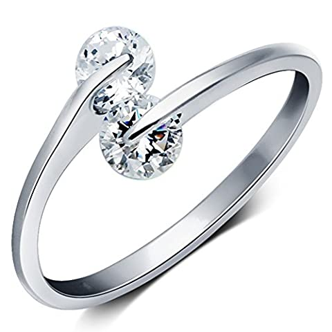 Hot 925 Sterling Silver Double Zircon Rhinestone Opening Adjustable Rings Gift