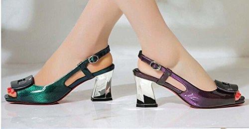 Beauqueen Peep-Toe Pumps Casual Work Leder Schuhe Frauen Slingbacks Chunky Low Heel Einfache Vintage Lila Green Europe Größe 34-39 Purple
