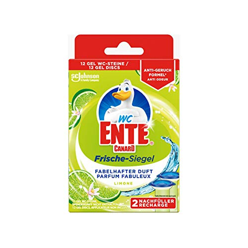 WC-Ente Frische-Siegel Nachfüller, körbchenloser WC-Reiniger, 12 Gel WC-Steine, Limone Duft, 2er Pack (2 x 36 ml)