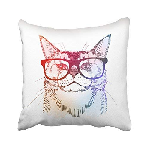 ZGNNN-EU Nerd Hipster Katze in Retro Nerdy Brille Weiß Tier Schöne Hell Cool Canvas Dekorative Kissenbezug 18x18 Throw Kissenbezug für Zuhause und Geschenke