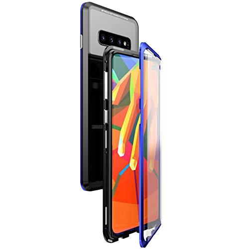 Yidai-Silu Galaxy S10 Rundumschutz Case, 【Vorn + Hinten 9H Glas, Stark Magnetisch】 Alu Bumper Durchsichtig Schale Handy Hülle Stoßfest Cover für Samsung Galaxy S10 6,1 Zoll - Schwarz&Blau -