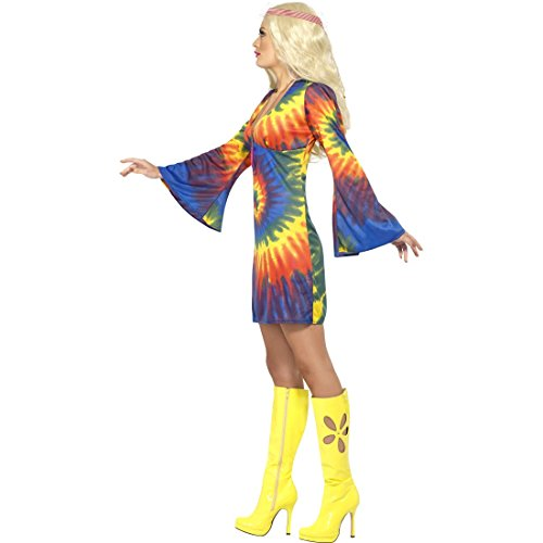 Amakando 70er Jahre Kostüm Flower Power Damenkleid M 40/42 60er Jahre Vintage Hippiekleid Hippie Kleid Karneval Kostüme Damen Sexy Retro Party Faschingskostüm Blumenkind Mottoparty Hippiekostüm