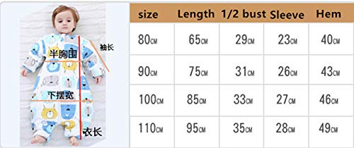 LUXIAO Moda de otoño e Invierno bebé Lindo Dividir Mangas Desmontables cálido Saco de Dormir niños cálidos y Transpirables Anti-Kick Tiene 0-2 años