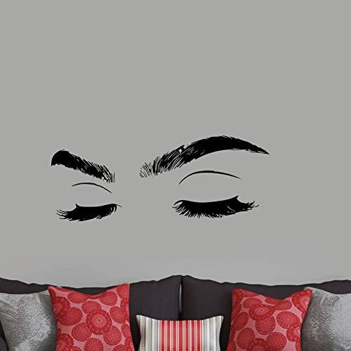yiyiyaya Große Wimpern Auge Wandtattoo Schlafzimmer Hintergrund Wanddekoration Mädchen Geschlossene Augen VinylWandaufkleberSchönheitssalon Dekoration30 * 76 cm (Unten Und Halloween-wimpern Oben)