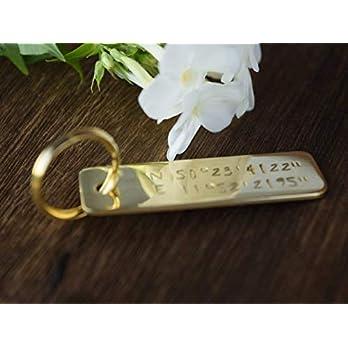 Schlüsselanhänger mit Gravur, Schlüsselbund, Anhänger, Silber, Gold, Männer Geschenk, Hochzeit, Gravur, Koordinaten, Valentinstag, Messing