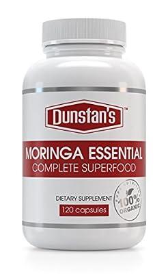 Moringa Essential 1600mg 120 Capsules Premium Strength Organic Moringa Oleifera Vegan/Vegetarian Friendly GMP Certified ISO 9001 30-Day Money Back Guarantee