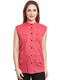 I AM FOR YOU Cotton Front & Back Both Side Placket Sleeveless Shirt For Women's & Girl's
