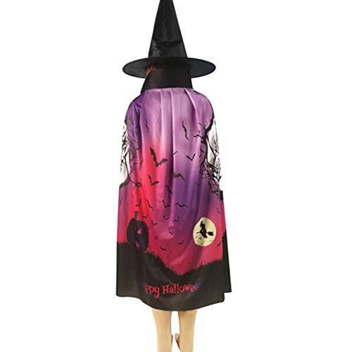 Wicked Cool Hexe Kostüm - Amosfun Halloween-Kostüm, Umhang und Hut, Fledermaus,