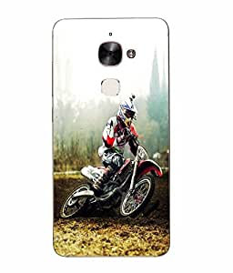 Make My Print Racing Bike Printed Multicolor Hard Back Cover For Letv Le Max 2