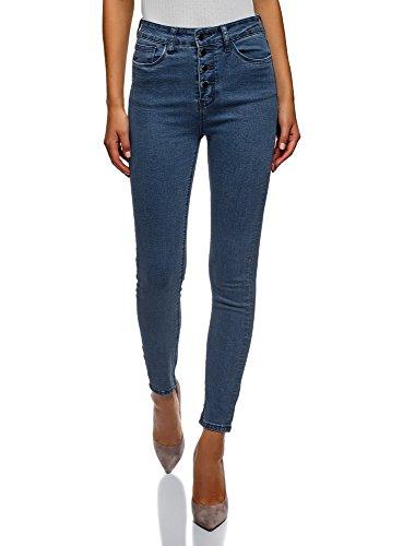 Oodji ultra donna jeans skinny a vita alta, blu, 30w / 32l (it 48 / eu 44 / xl)